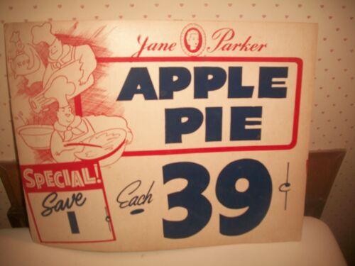 "Vtg Jane Parker APPLE PIE Store Window Sign *39 CENTS~SAVE A PENNY*14""x11"""