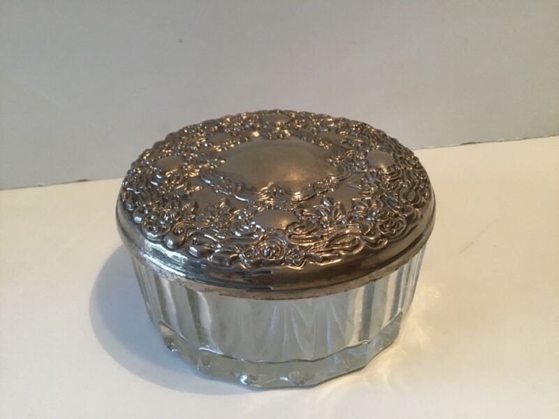 Vintage Art Nouveau Vanity Glass Powder Jar With Mirror in Silverplated Lid