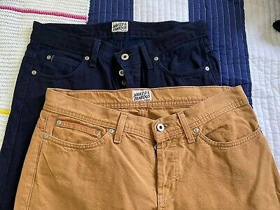 2 Pairs Naked & Famous Mens Slim Skinny Duck Canvas Lightweight Indigo 32 or 33