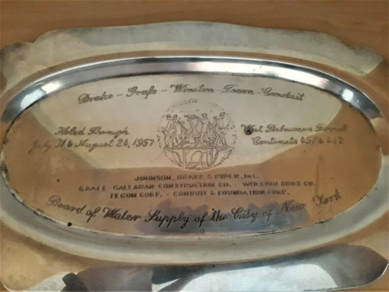 West Delaware Tunnel City New York Water Supply Commemorative Silver Plate Tray