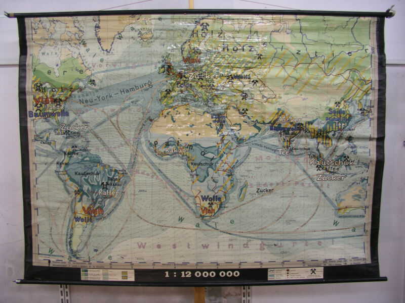 Wall Map Beautiful Old Earth Economy 1/2.Teil ~ 1935 88 3/16x64 3/16in Vintage