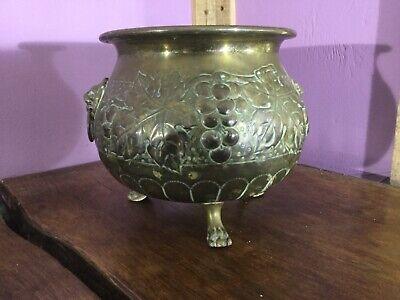 Lovely Arts & Crafts Brass Planter. Aspidistra Plant Pot. Lion Paw. Mask Handles