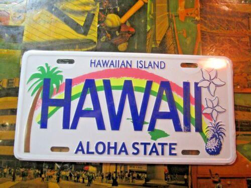 HAWAII HAWAIIAN ISLANDS ALOHA STATE BACKGROUND METAL NOVELTY LICENSE PLATE TAG~