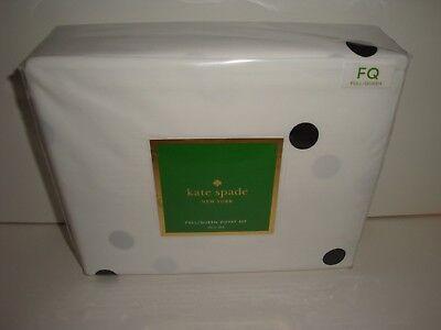 Kate Spade Deco Dot Full Queen Duvet Cover Standard Shams Set NIP Black White ()