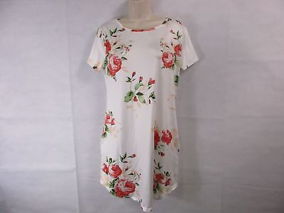For G & PL Women's S Floral Print White T-Shirt Dress NEW