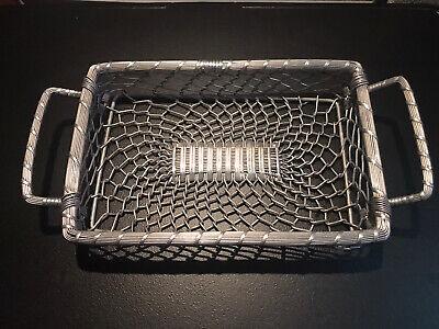 "Chrome/Aluminum wire basket with handles farmhouse, rustic, 16""x8""x2"""