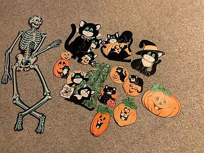 Vintage lot of (12) Halloween cardboard paper cut outs