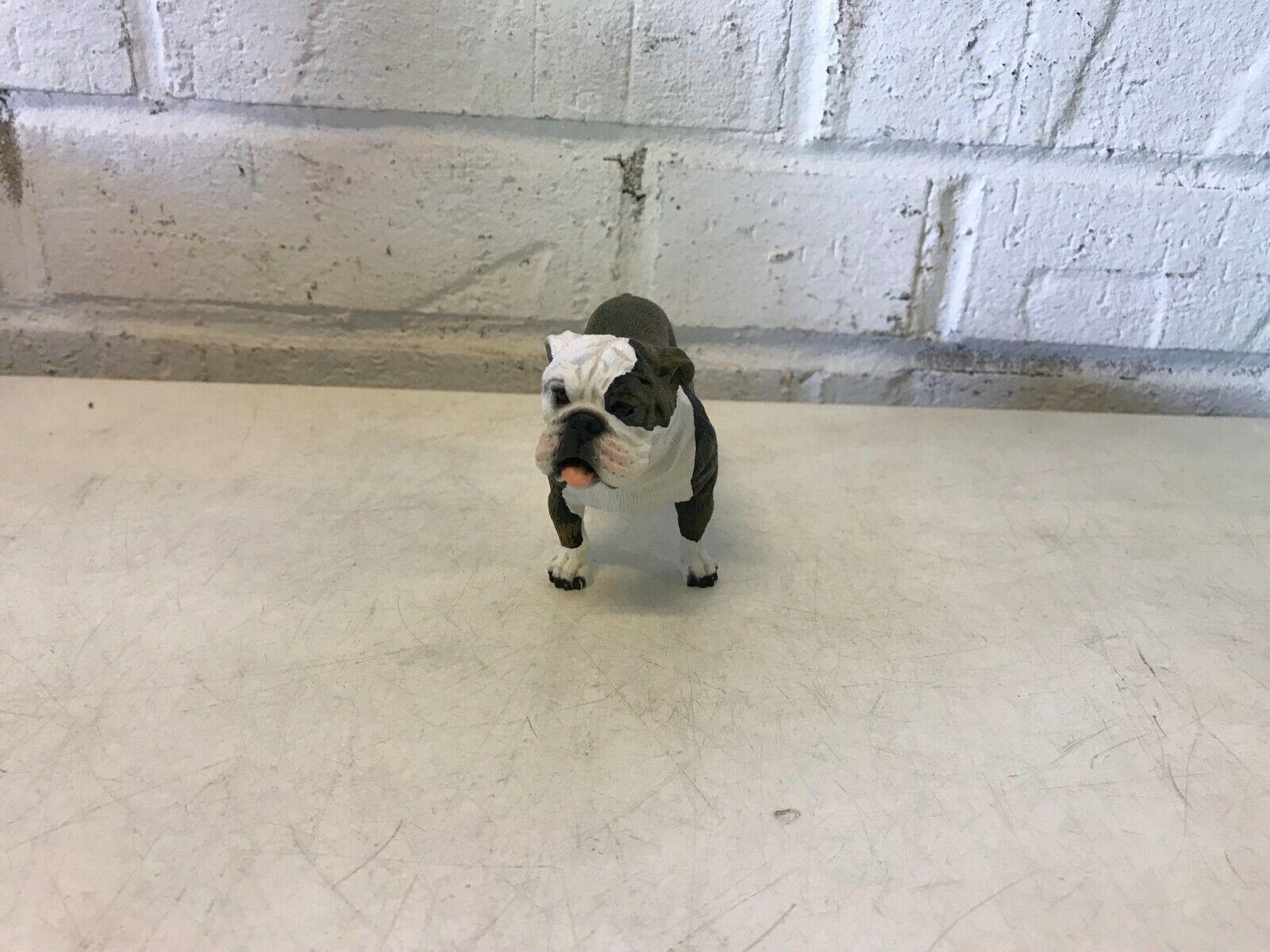 Bulldog anglais figurine debout marron & blanc résine