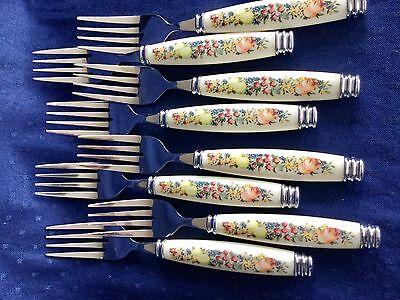 Set Of 4 Pfaltzgraff Flatware Stainless Fruit Orchard Grove 8 1 4  Dinner Forks