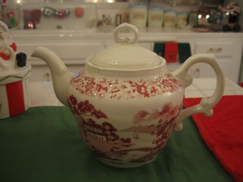 BEAUTIFUL ANTIQUE LARGE RED AND WHITE FLORAL TRANSFER CHINA TEAPOT