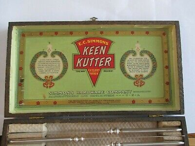 Vintage EC Simmons Keen Kutter Fork Knife Set Flatware Original Wood Box