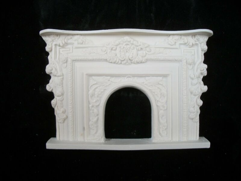 Fireplace - Arched UMF6 polyresin dollhouse miniature 1/12 scale Rococo Style