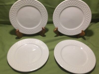 Trim 2 Salad Plates (Lot of 4 Oneida WICKER WHITE Salad Plates Basket weave Trim  7-1/2)