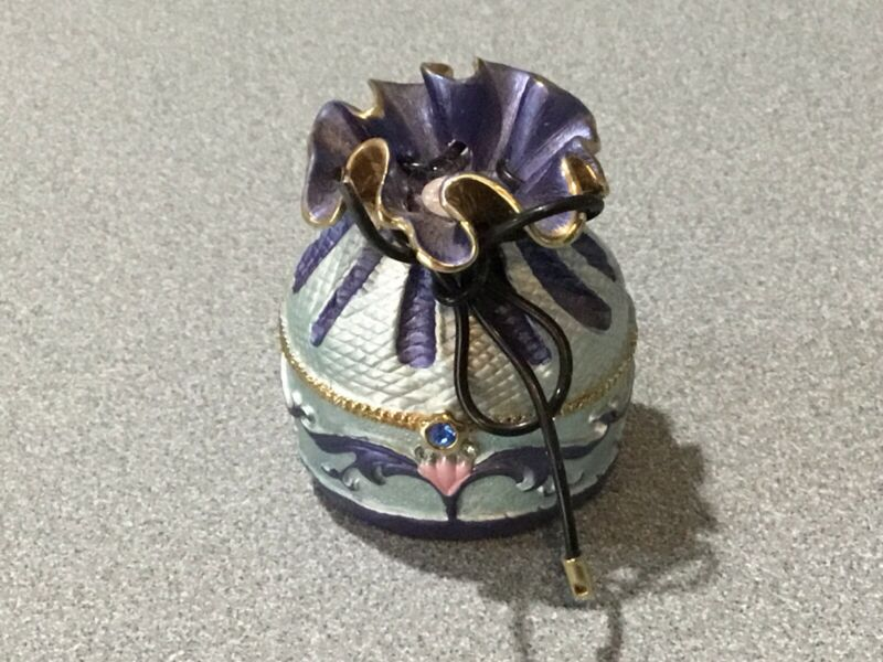 Trinket Box Jeweled Rhinestones Enamel POUCH BAG