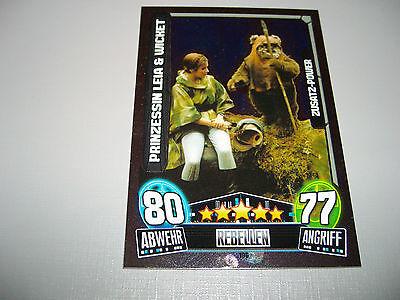Star Wars Karte – Force Attax – Serie 3 – 196 Prinzessin Leia & Wicket – (Star Wars Rebellen Leia)