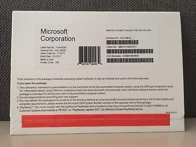 Microsoft Windows 10 Professional 64 Bit OEM (Brand New Sealed)
