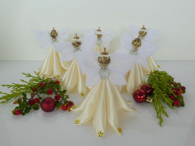 Beautiful+Unique+Handmade+christmas+tree+decoration+ribbon+angel+set+of+6
