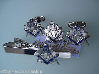 Masonic Master Mason  Cufflinks, lapel pin, and Tie Clip. Silver Plated.