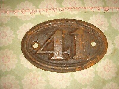 genuine antique vintage cast iron door house train number cottage no 41