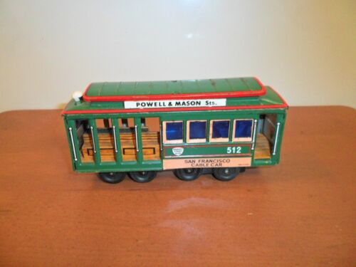 Vintage Tin Friction Toy, SAN FRANCISCO CABLE CAR 512, Market Street RY. CO.