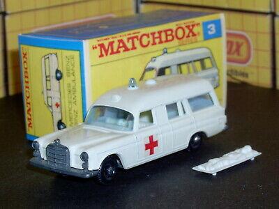Matchbox Lesney Mercedes Ambulance 3 c2 labels off white SC8 VNM & crafted box