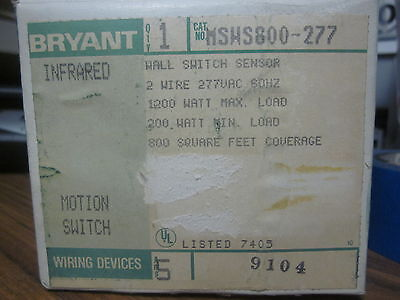 New Bryant Infrared Motion Switch Cat No. Msws800-277.......mm-771