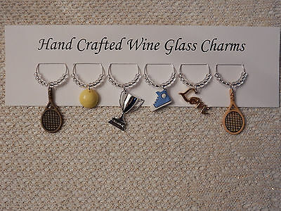 """""""TENNIS"""" SET OF 6 HAND CRAFTED WINE GLASS CHARMS"""