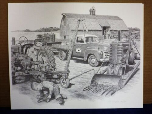 DON GREYTAK GRAPHITE PENCIL LTD ED PRINT - JOHN DEERE FARM- SIGNED/NUMBERED