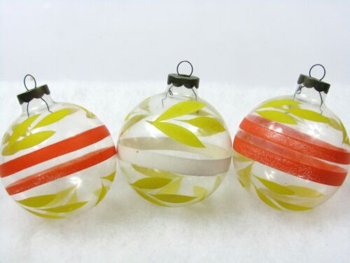 Lot 3 Vintage Unsilvered Clear Glass WWII BALLS Christmas Ornaments USA