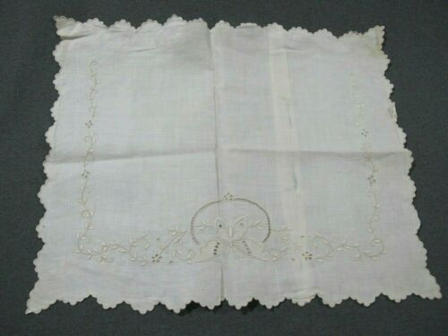 Antique hand embroidery butterfly flowers lace linen mop buttons cushion cover