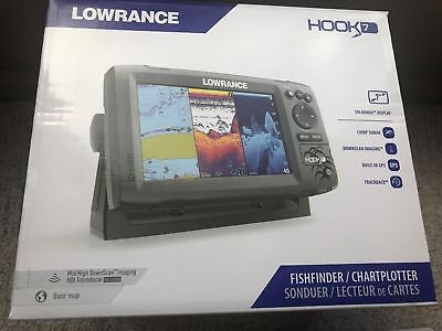 New In Box Lowrance Hook 7 Fish Finder Chartplotter Combo 000 12664 001