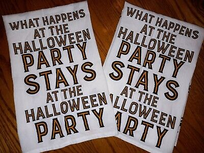 PAIR DESIGNS BY KATHY KITCHEN TEA TOWELS WHAT HAPPENS AT THE HALLOWEEN PARTY...