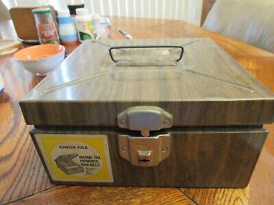 Porta File Cancelled Checks File Divider Metal Box Lock Key Vintage 1960s