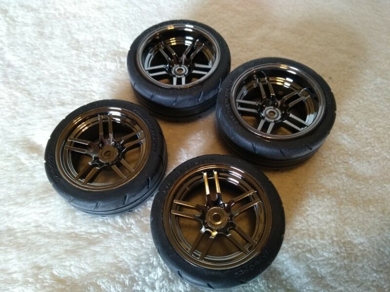 Traxxas 4tec 2.0 VXL front & rear Response Tires black chrome wheels Mustang GT