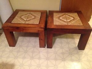Pair of Heavy Hand Crafted Pine and Tile End Tables