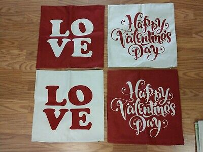 18 x 18 Square Throw Pillow Covers ~ Valentine's ~ Set of 4