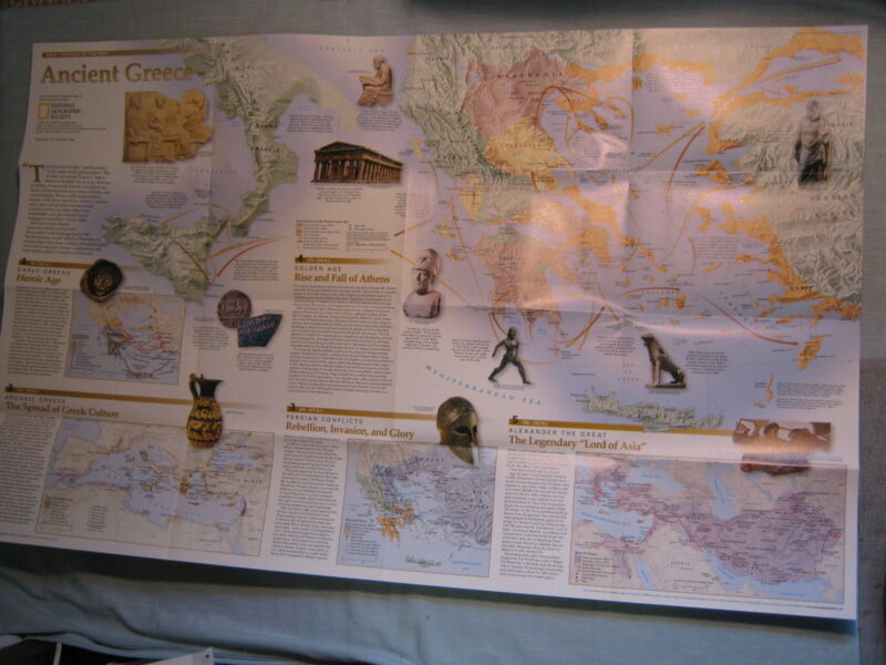 THE GREEKS + ANCIENT GREECE MAP National Geographic December 1999 XLNT