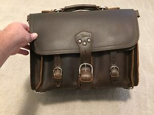 "LEATHER BRIEFCASE, Saddleback Leather ""Medium"" Front Pocket"