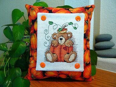 Pumpkin Bear Cross Stitched Pillow - Fall Home Decor - Halloween - Thanksgiving