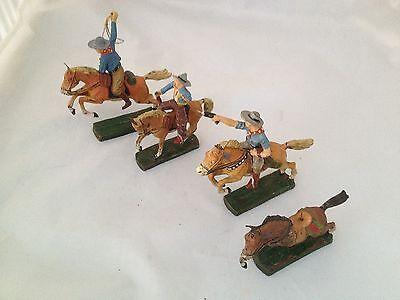 A191/  Hausser Elastolin 3x Cowboy 4x Pferd Wildwest Figuren von ca. 1935/55