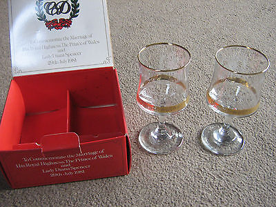 CHARLES AND DIANA ROYAL WEDDING COMMEMORATION GOBLETS IN BOX-APPEAR UNUSED-EXC.
