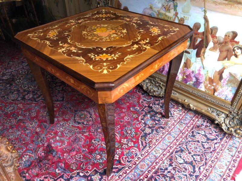 Vintage Italian Wood Inlay Convertible Multi Game Table
