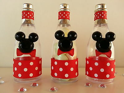 12 Mickey Mouse Fillable Champagne Bottles Baby Shower Favors Prizes Games Decor - Mickey Mouse Baby Shower Favors