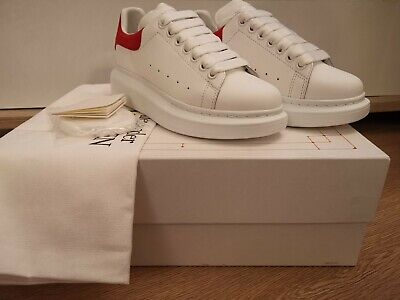 Alexander McQueen White Leather & Red Suede Oversized Trainers UK 3 EU 36