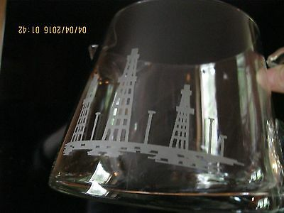 Beautiful Low Profile Glass Pitcher, Etched with Derricks/Towers, Holds 4 cups