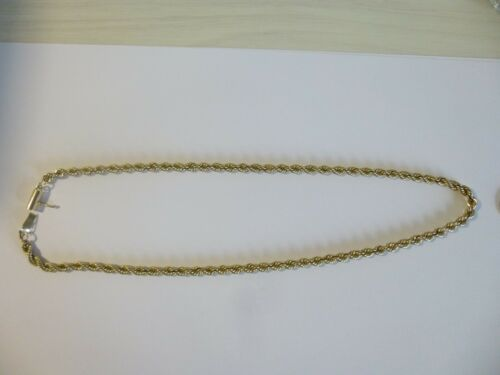 "14K Solid Gold Necklace 4mm Rope  16"" Long 20.18 Grams"