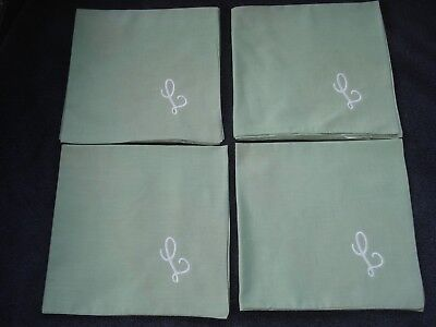Sage Green Cloth Napkins Cream Monogram Initial