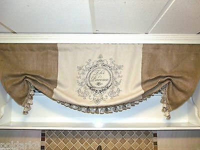 Levy Made Large French Country Th'e de Provence Linen And Burlap Valance