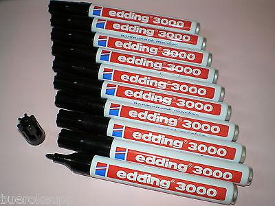 10 Stück Edding 3000 Permanent-Marker schwarz Rundspitze 1,5 -3 mm Filzstift NEU