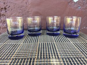 4 x SKYY VODKA Glasses, Blue Base & Bubble - Durobor Signature